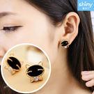 【37A41】shiny藍格子-時尚可愛.黑色笑臉貓咪水鑽精緻耳環
