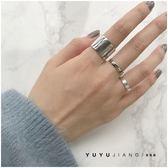 純銀冷淡風光面寬戒指極簡百搭個性拉絲素銀食指戒【極簡生活館】