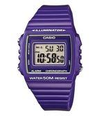 【僾瑪精品】CASIO 方形數字 紫色繽紛電子腕錶/W-215H-6A