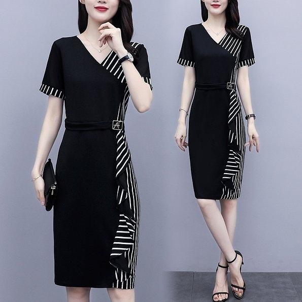 洋裝連身裙職業L-5XL中大尺碼韓版修身中長款V領優雅條紋裙T339C.5867韓依紡