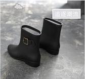 時尚韓國雨鞋女成人雨靴女士馬丁膠鞋中筒水靴防水鞋短筒防滑套鞋  凱斯盾數位3C