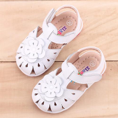 女童 MIT護趾雕花真皮手工 涼鞋 學步鞋 寶寶鞋 嬰兒鞋 白色 59鞋廊