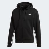L- adidas MUST HAVES 3-STRIPES 男裝 外套 連帽 慢跑 休閒 三條線 黑 DX7657