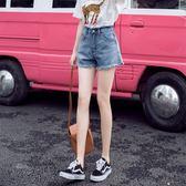 網紅a字牛仔短褲女夏新款寬鬆顯瘦高腰學生百搭大碼闊腿熱褲 初語生活
