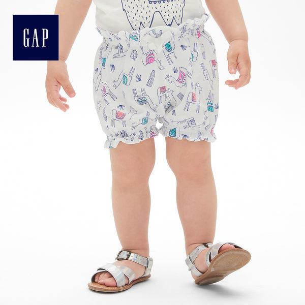 Gap女嬰兒 布萊納小熊刺繡波點鬆緊腰燈籠短褲 441316-羊駝色
