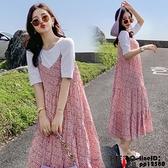 洋裝連身裙孕婦裝夏裝時尚寬松顯瘦短袖T恤碎花吊帶連身裙潮外出洋氣兩件式