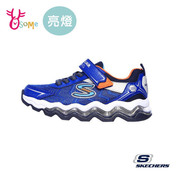 Skechers童鞋 男童電燈鞋 TURBOWAVE 波浪大底 發光鞋 運動鞋 跑步鞋 閃燈 魔鬼氈 W8261#藍色◆奧森