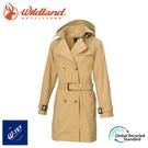 【Wildland 荒野 女 中長防水可脫帽時尚外套《卡其》】0A72905/風雨衣/防水外套/大衣