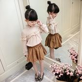 女童長袖棉麻襯衣上衣
