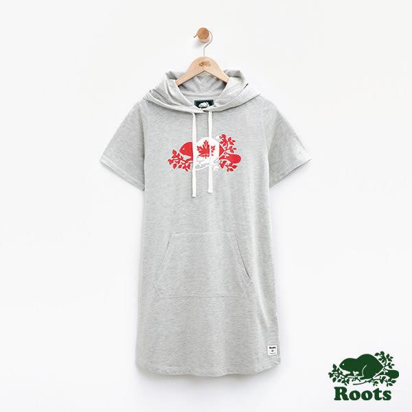 女裝-Roots加拿大系列-海狸國旗連帽短袖洋裝 - 灰色
