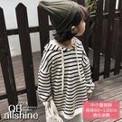女童上衣 韓版條紋連帽長版長袖T恤 18617148