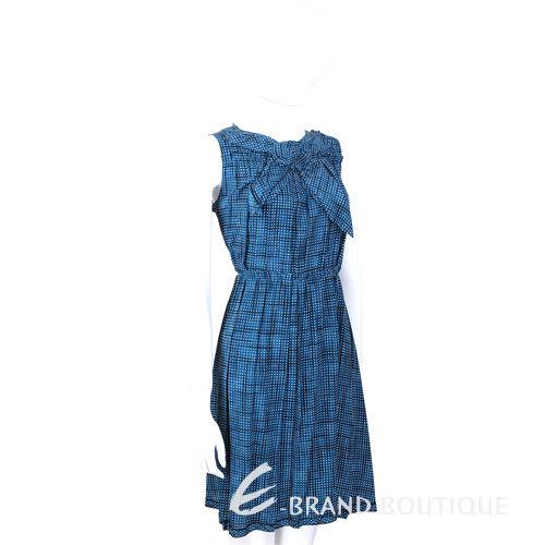 Marc Jacobs 藍色領結設計方格紋無袖洋裝 1430291-23