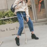 MUMU【P77108】綁帶牛仔加厚哈倫褲(一般款)黑/藍。S-XL