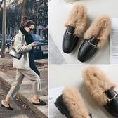免運秋冬季新款兔毛毛鞋chic平底單鞋方頭女鞋穆勒鞋女超夯豆豆鞋