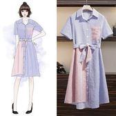 折后價不退換中大尺碼XL-5XL洋裝襯衫裙33484大碼氣質洋氣條紋襯衫裙2019夏裝胖妹妹顯瘦連衣裙