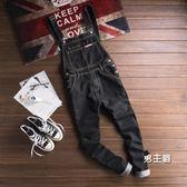 (交換禮物)牛仔吊帶褲日系復古牛仔連身褲男修身長褲青年工裝牛仔吊帶褲男女吊帶褲