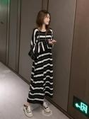 長裙 孕婦春季新款韓版中長款針織條紋連衣裙慵懶風桔梗裙寬松顯瘦長裙