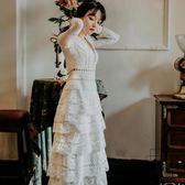性感V領蕾絲長袖白色蛋糕裙禮服裙復古仙女度假沙灘長裙【時尚大衣櫥】