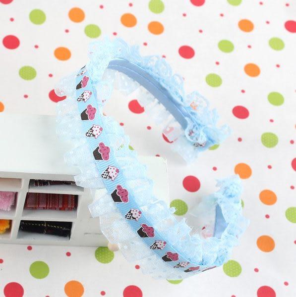 果漾妮妮 蕾絲滾邊冰淇淋造型髮圈/髮箍/兒童髮飾/藍色【C8388】