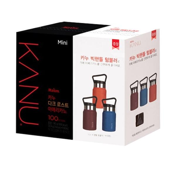 韓國 MAXIM麥心 KANU 美式深焙咖啡 附顏色隨機350ml靚彩不鏽鋼手提杯1個 (0.9g×100入/盒) 孔劉咖啡