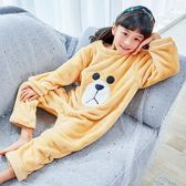 兒童防著涼連體睡衣卡通護肚子家居服防踢女童秋冬寶寶法蘭珊瑚絨-ifashion