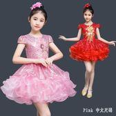 兒童演出服 兒童蓬蓬裙女童公主舞蹈紗裙小學生合唱演出服 nm9250【Pink中大尺碼】