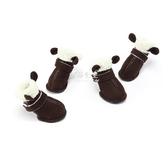 寵物鞋狗鞋子秋冬雪地靴泰迪貴賓比熊保暖毛毛鞋小型犬通用防滑寵物鞋 伊莎公主