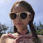 女白色復古小框墨鏡圓形韓版圓臉太陽眼鏡        伊芙莎
