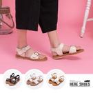 [Here Shoes]涼拖鞋-MIT台灣製 金屬扣環 牛皮色鞋底 一字寬 涼鞋 2色─KT6008