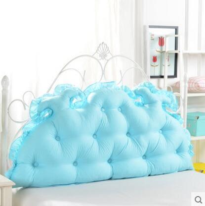 韓式田園公主床頭大靠背 全棉大靠墊 純棉床上雙人長靠枕【150x65cm龙角款】
