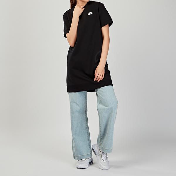 Nike AS W NSW TCH FLC DRESS 女子 黑色 基本款 洋裝 短袖 CJ3874-010