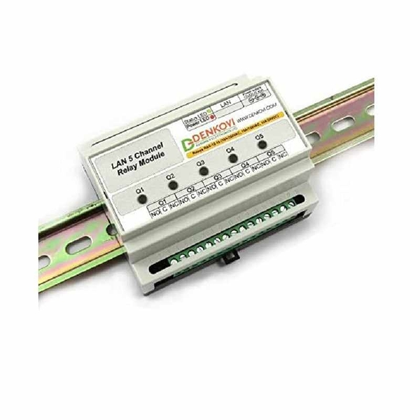 Denkovi Web Controlled 5 Relay Module DIN Rail Box 12VDC: SNMP, HTTP, XML [2美國直購]