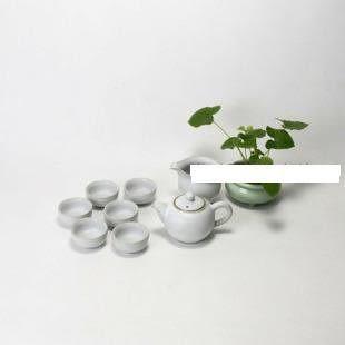 龍泉青瓷月白汝窯茶具套裝開片