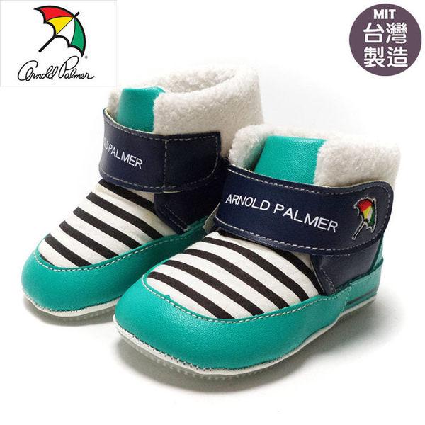 正版ARNOLD PALMER雨傘牌條紋寶寶靴.學步鞋.保暖靴.藍13~16號~EMMA商城
