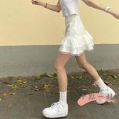 網紗半身裙 裙子仙女2020年新款夏天白色蛋糕裙網紗短裙高腰a字小清新半身裙 LW1174