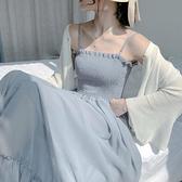 韓版夏季ins超仙女甜美中長款雪紡吊帶裙子女學生潮 快速出貨