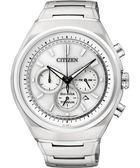 CITIZEN ECO-Drive 鈦金屬三眼計時腕錶-銀 CA4021-51A
