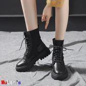 [伊人閣] 襪靴 高幫 毛線口 馬丁靴 機車鞋 薄款 彈力短靴