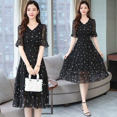 洋裝 裙子實拍S-2XL星星長裙夏裝 短袖雪紡裙超仙的法國黑色氣質v領連衣裙 T105.8936皇朝天下