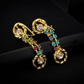 耳環 純銀鍍18K金水晶-奢華閃亮生日情人節禮物女飾品73cx61【時尚巴黎】