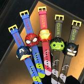 抖音神器網紅玩具同款鋼鐵俠蜘蛛俠白武士手錶兒童卡通變形男手錶 童趣屋