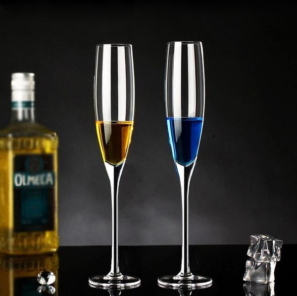 水晶玻璃香檳杯套裝家用紅酒杯2個雞尾酒高腳杯一對歐式創意酒具 - 風尚3C