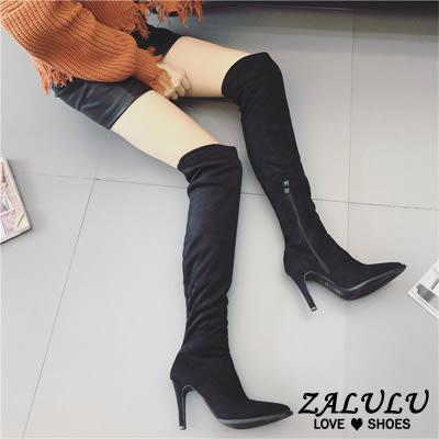 ZALULU愛鞋館 JA278 淑女名伶風尖頭高細跟長筒膝上靴-黑(皮面)/黑(絨面)-35-39