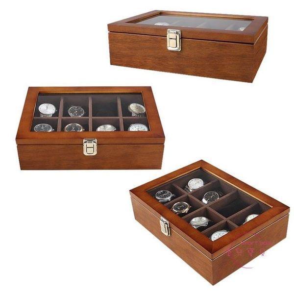 手錶收藏盒 實木木質 高檔手錶盒首飾收納盒收藏盒展示儲物盒 生日禮物 創意 新年 中秋烤肉特惠