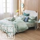鴻宇 四件式雙人薄被套床包組 夢時尚綠 防蟎抗菌 美國棉授權品牌 台灣製2121