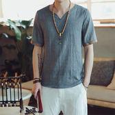 古風男裝棉麻短袖t恤夏季涼快衣服佛系上衣服中式寬鬆大碼