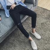 夏季牛仔褲男士薄款修身小腳彈性初中學生韓版潮流秋季休閒褲子男