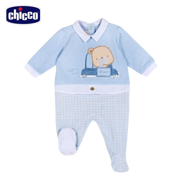 chicco-駕駛小熊-有領剪接格紋後開長袖兔裝