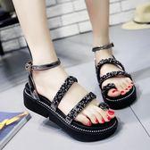 夏季新品涼鞋女鞋子水厚底平底套趾一字扣時尚 【萬聖節八五折鉅惠】