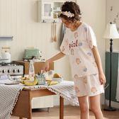 睡衣女夏季短袖純棉七分褲套裝韓版寬鬆夏款   『歐韓流行館』